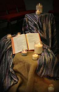 Prayer stand and candles, Diocesan Youth Conference, 2015